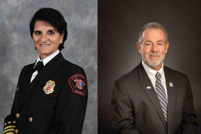 Mesa Fire Chief Mary Cameli, Southwest Business Credit Services President/CEO Rich Adams