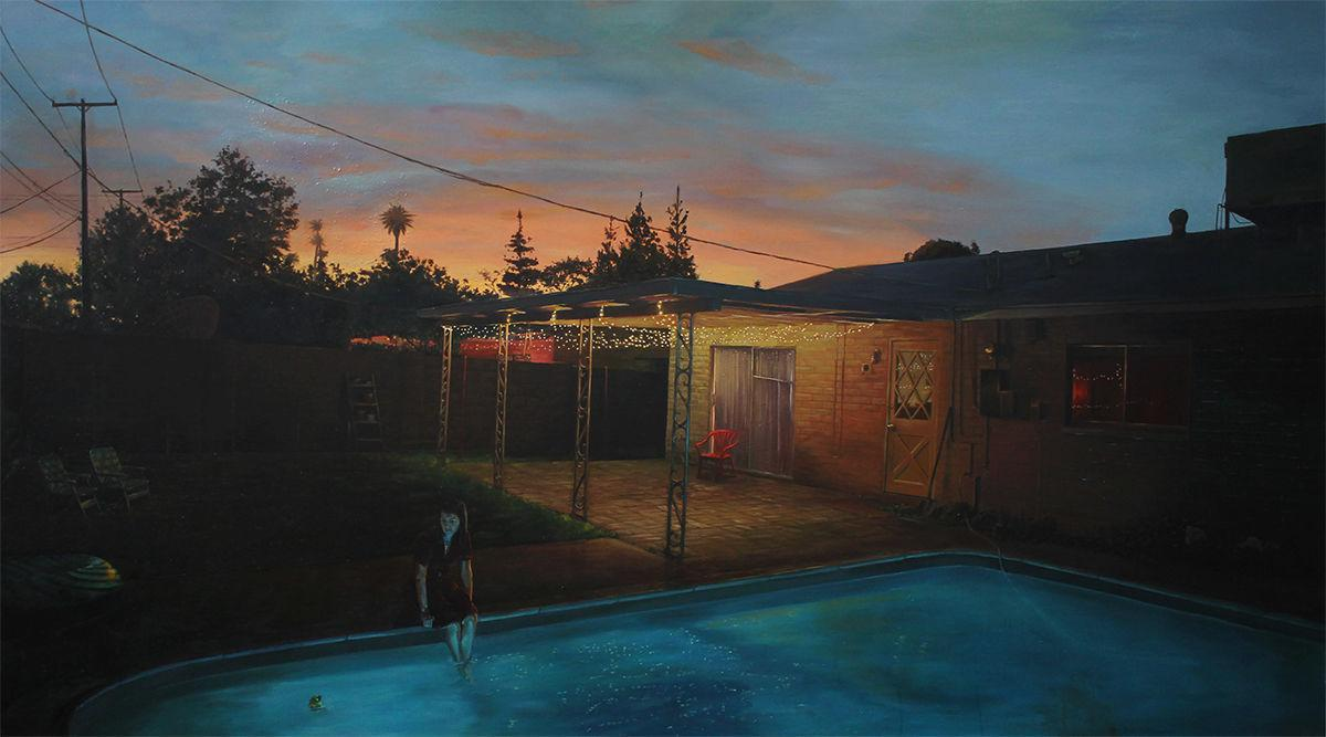 """""""A lie is often hidden between two truths"""" is the title of this painting by Cam DeCaussin."""