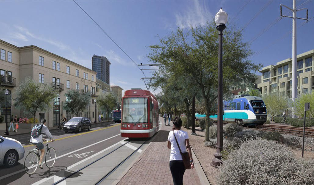 An artist's concept shows the proposed Tempe Streetcar alongside Valley Metro Light Rail