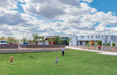 Mountain Park Health Center's new Tempe location includes a 0.6-mile walking path, jungle gym modeled after a DNA strand, green spaces for play and various landscaping installations designed for community use.