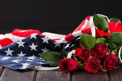 Military Funeral Flag with Roses