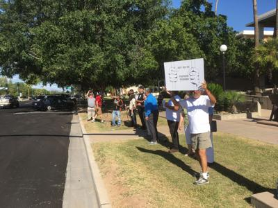 Ron Redlin of ACLU People Power was among those protesting May 22 against Mesa's plan to incarcerate inmates accused of misdemeanors at a privately owned jail in Florence. The Mesa City Council later that day approved the plan despite heckling by the protesters.