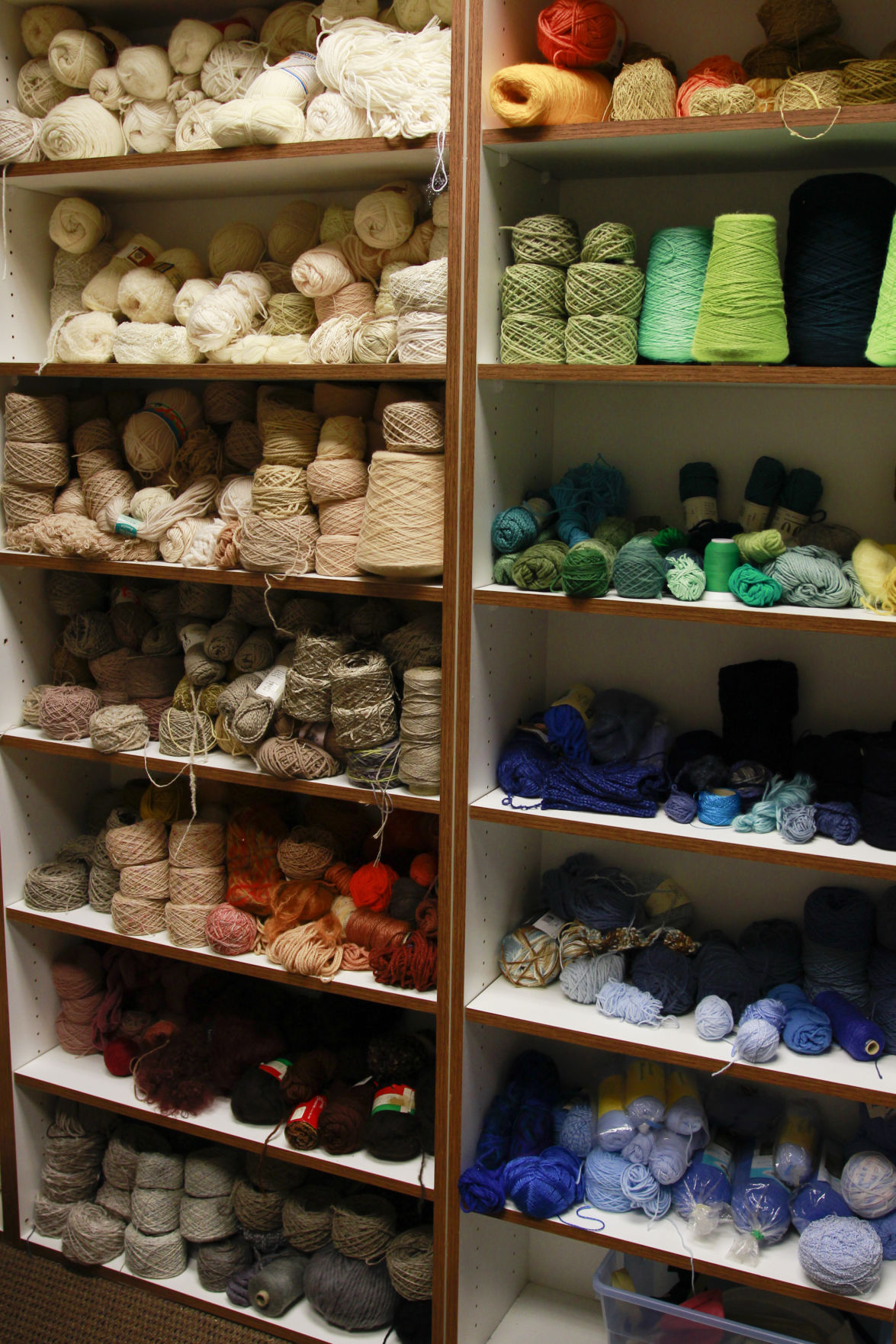 Various yarn available at the Art Resource Center