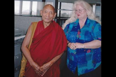 Artist selling her portrait of Buddhist monk Palden Gyatso Marsha Gilliam Free Tibet