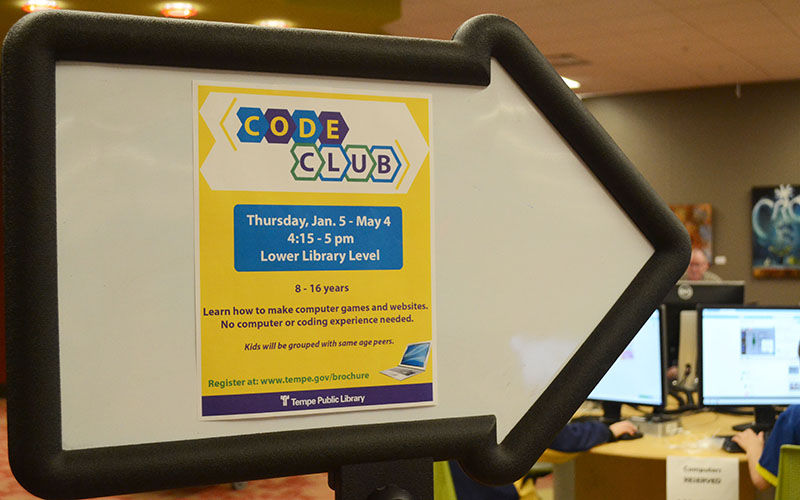 A sign promoting the code club at Tempe Public Library