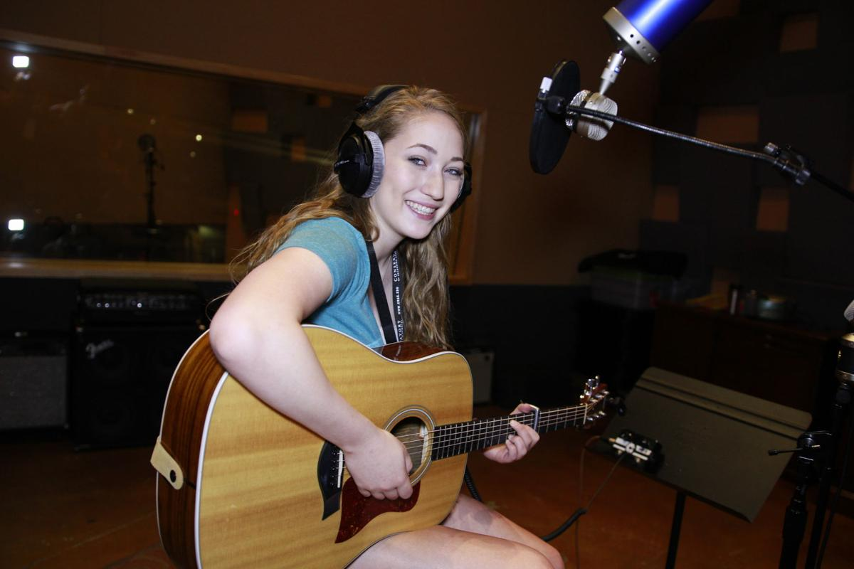 Brittany Tews, 17, is ready to record in Conservatory of Recording Arts and Sciences studio in Gilbert.