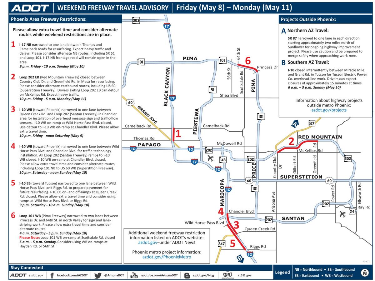 Plan ahead for lane restrictions along I-10, I-17, Loop 101 Loop 202 ...