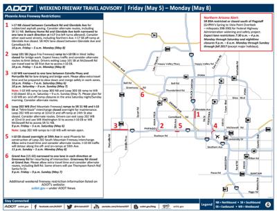 ADOT Weekend Freeway Travel Advisory (May 5-8) | Arizona ... on indot state map, tdot state map, caltrans state map,