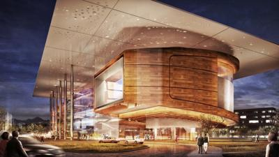 In addition to the main auditorium, Consolari would include other indoor performance halls, amphitheater, and rose garden