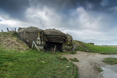 German battery, bunkers and guns in Normandy