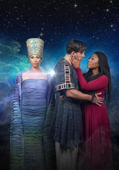From left, Victoria Fairclough is Amneris, Ben Mason is Captain Radames and Ashley Jackson is Aida.