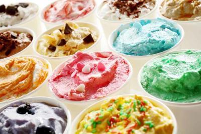 Tasty summer ice cream in different flavors