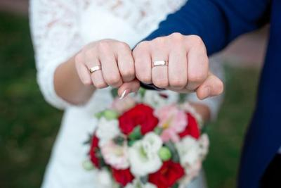 Close-up Bride and groom's hands with wedding rings