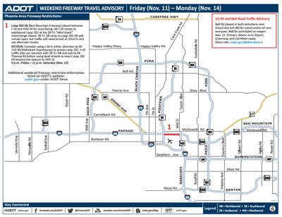 ADOT Weekend Freeway Travel Advisory (Nov. 11-14) | Arizona ... on indot state map, tdot state map, caltrans state map,
