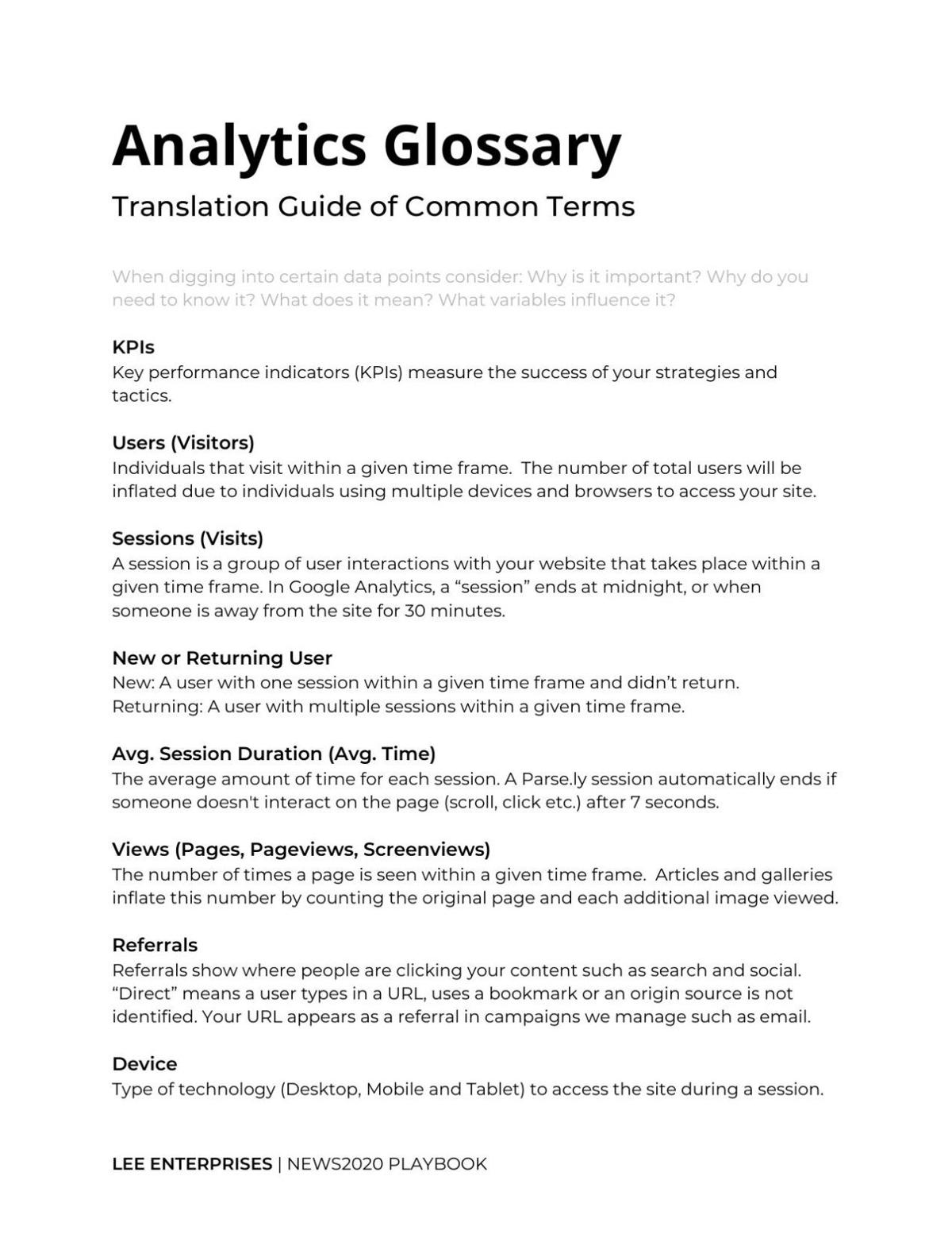 Analytics glossary - Key metrics and what they mean