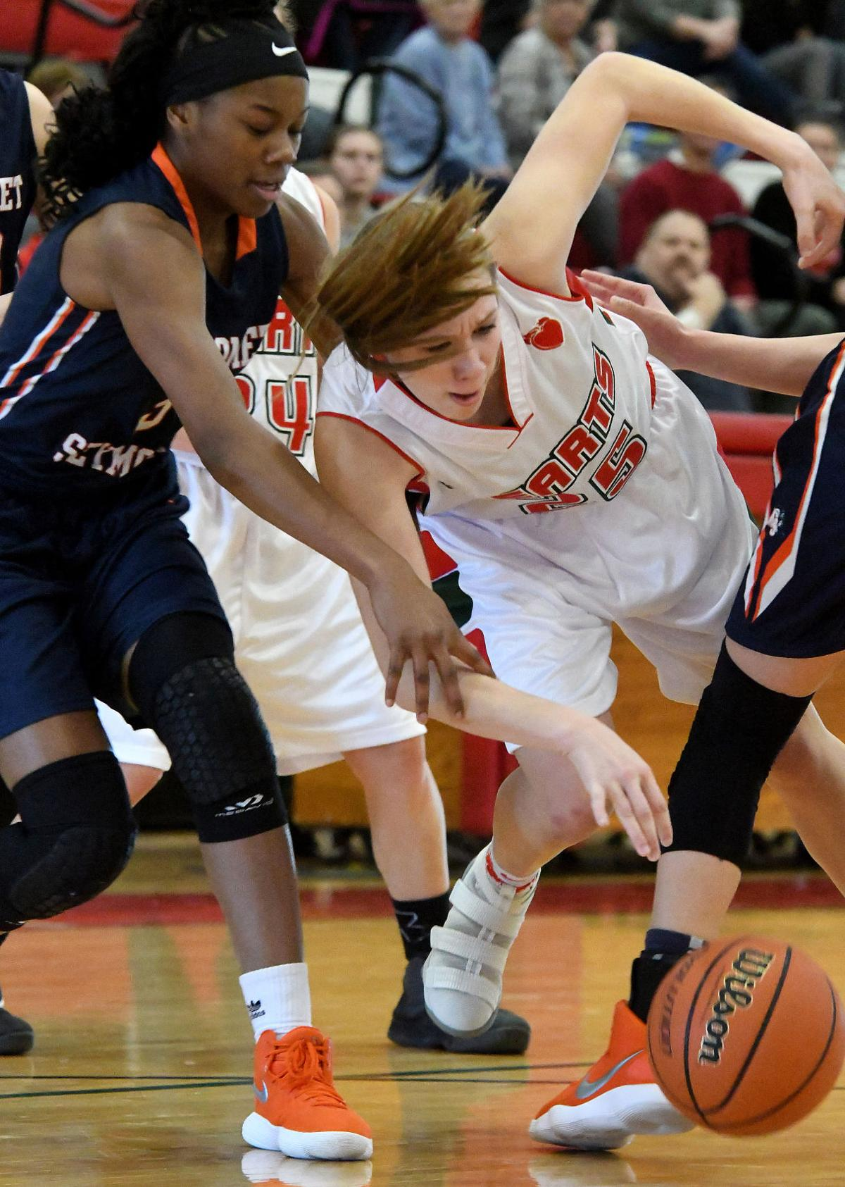 GIRLS BASKETBALL: Flaming Hearts overcome rust, burn
