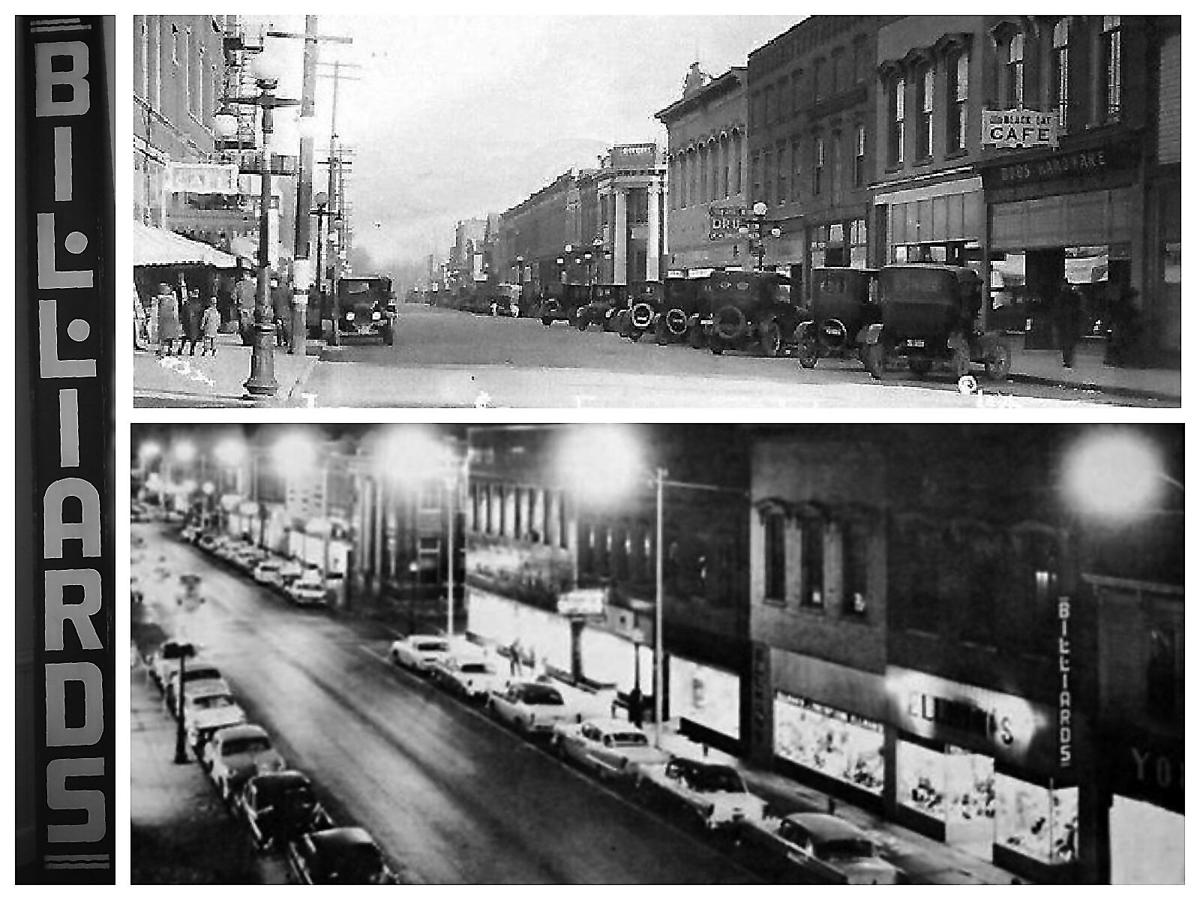 Downtown Effingham in the 1920s and 1950s with Black Cat Cafe and Billiard Parlor.jpg