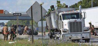 Pickup, grain truck catch fire Thursday morning