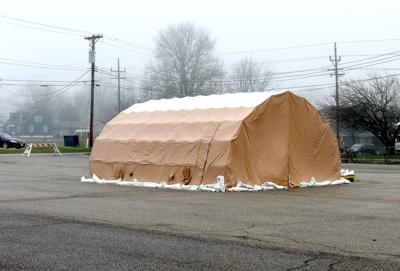HSHS St. Anthony's Hospital set up tent