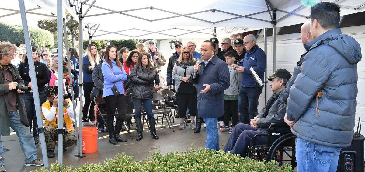Mayor Steve Ly addresses a crowd