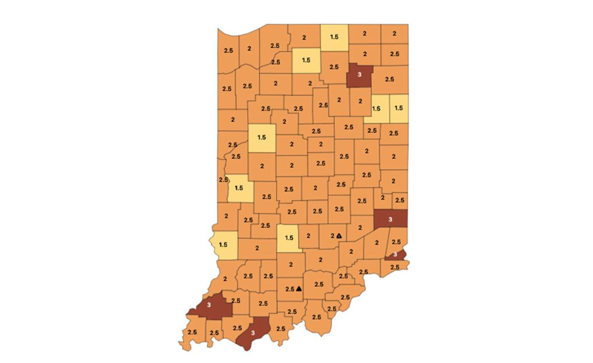 Indiana COVID-19 color map 01-27-2021