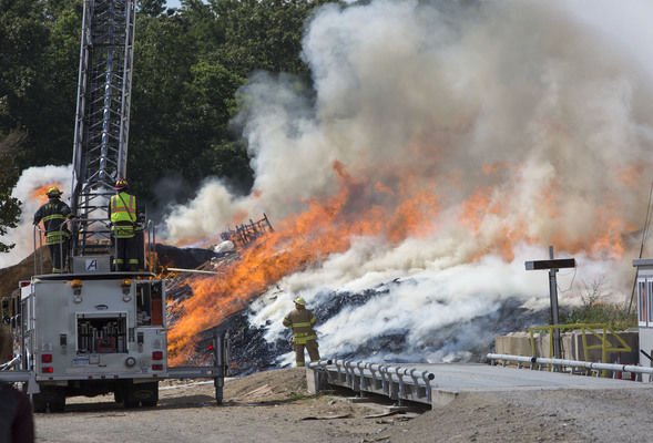 Mulch fire near Mottville burned five days, charring nearly half of 38-acre site