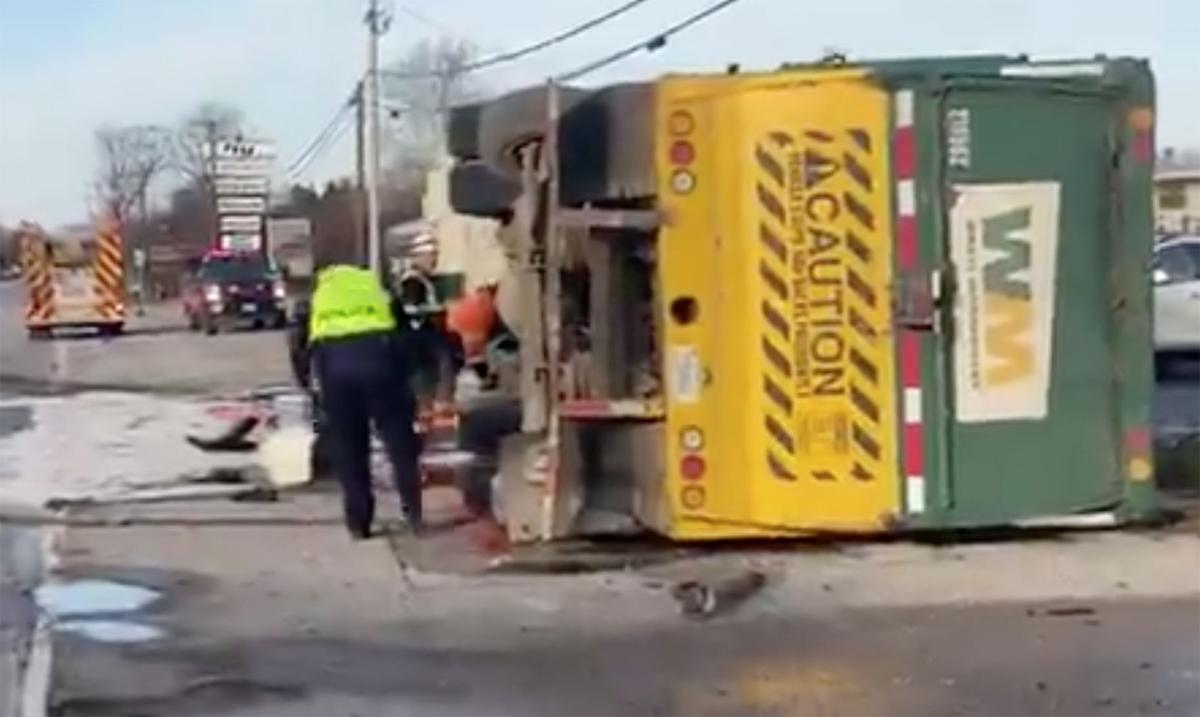 Garbage truck tipped over  ABC57 11-19-2020