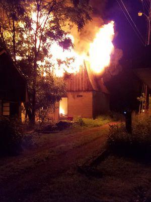 Overnight fire destroys storage barn near Rice Cemetery in Elkhart