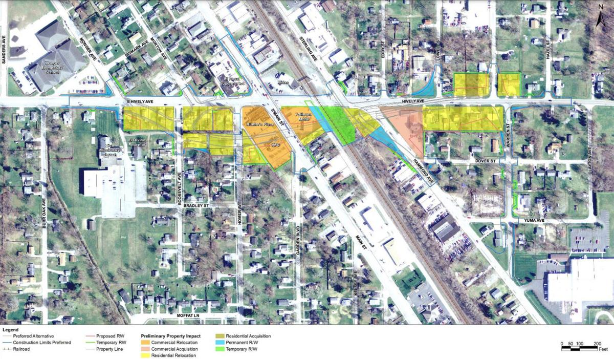 Hively railroad overpass relocations and acquisitions