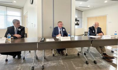 Steve Thalheimer, Byron Sanders, Dan Funston superintendents breakfast