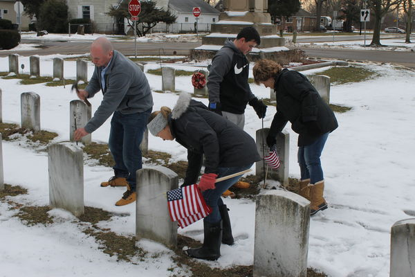 Placing flags on Valentine's Day