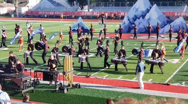 Marching bands in full stride