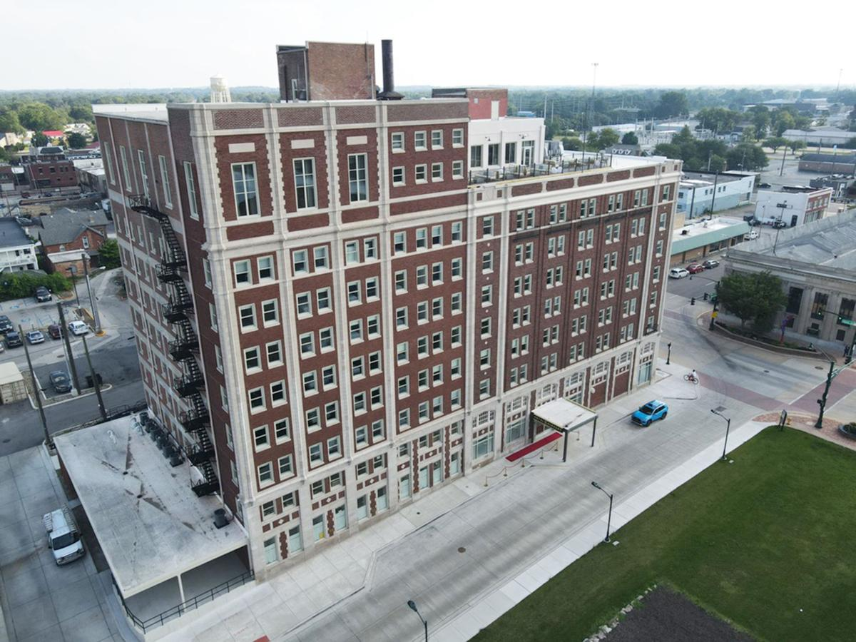 Hotel Elkhart from north, drone