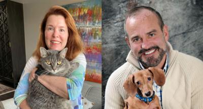 Janet Evanega and Tim Portolese with pets