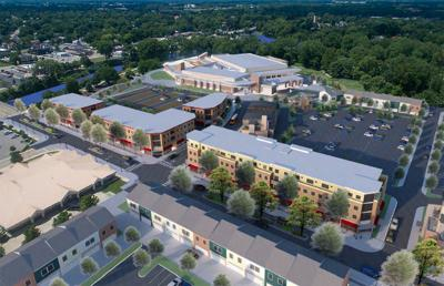Mixed-use and townhomes by Aquatics Center