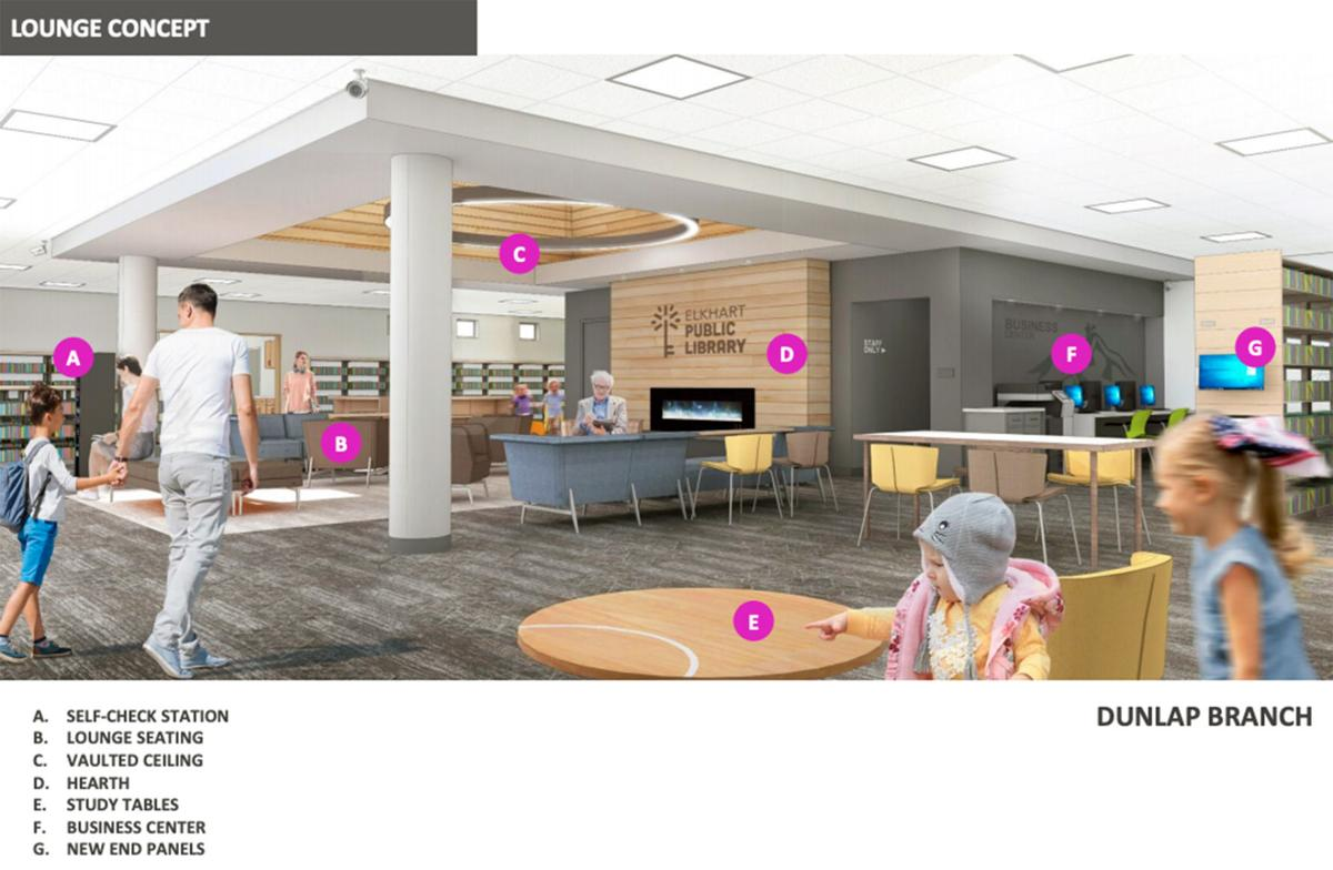 Elkhart Public Library renovation rendering, lounge