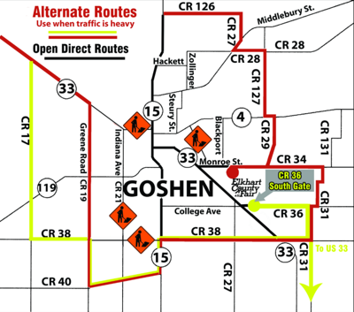 Alternate route to the fair reduces traffic congestion