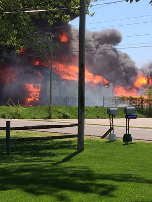 Fire destroys mostly vacant Forest River RV building in southwest Elkhart