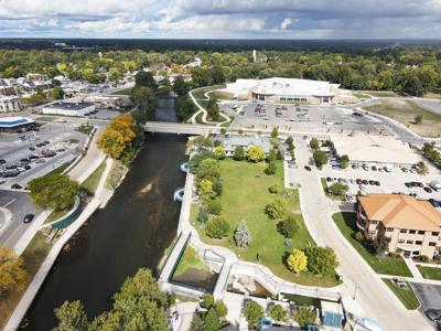 Elkhart River by the River District, Aquatics Center drone