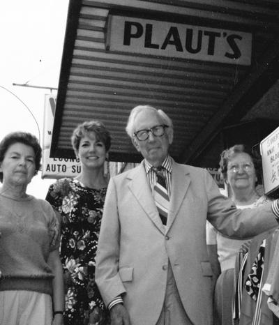 Plaut's Store, 121 S. Main Street, Goshen.  Last day of Business.  Aug. 1, 1991.  Sid Plaut (1907-1995) center.