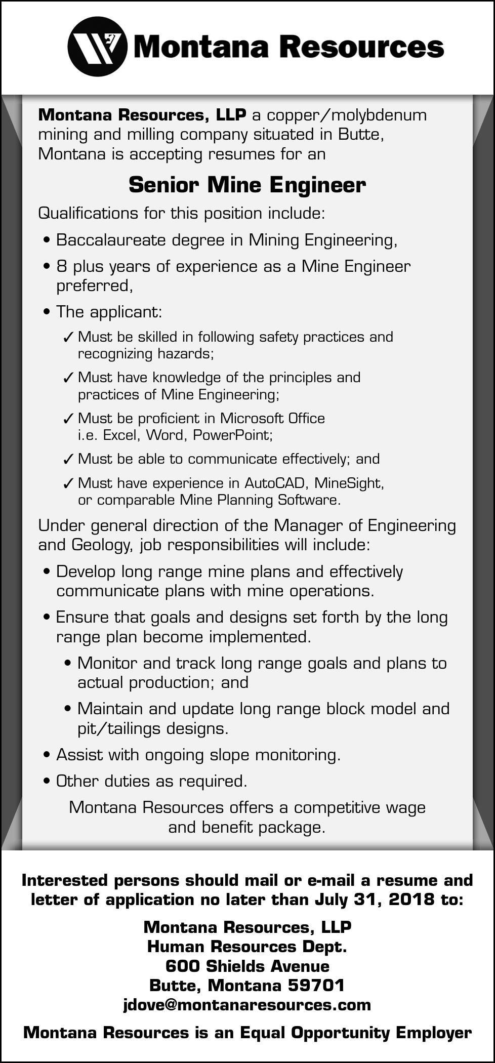 Sr. Mine Engineer