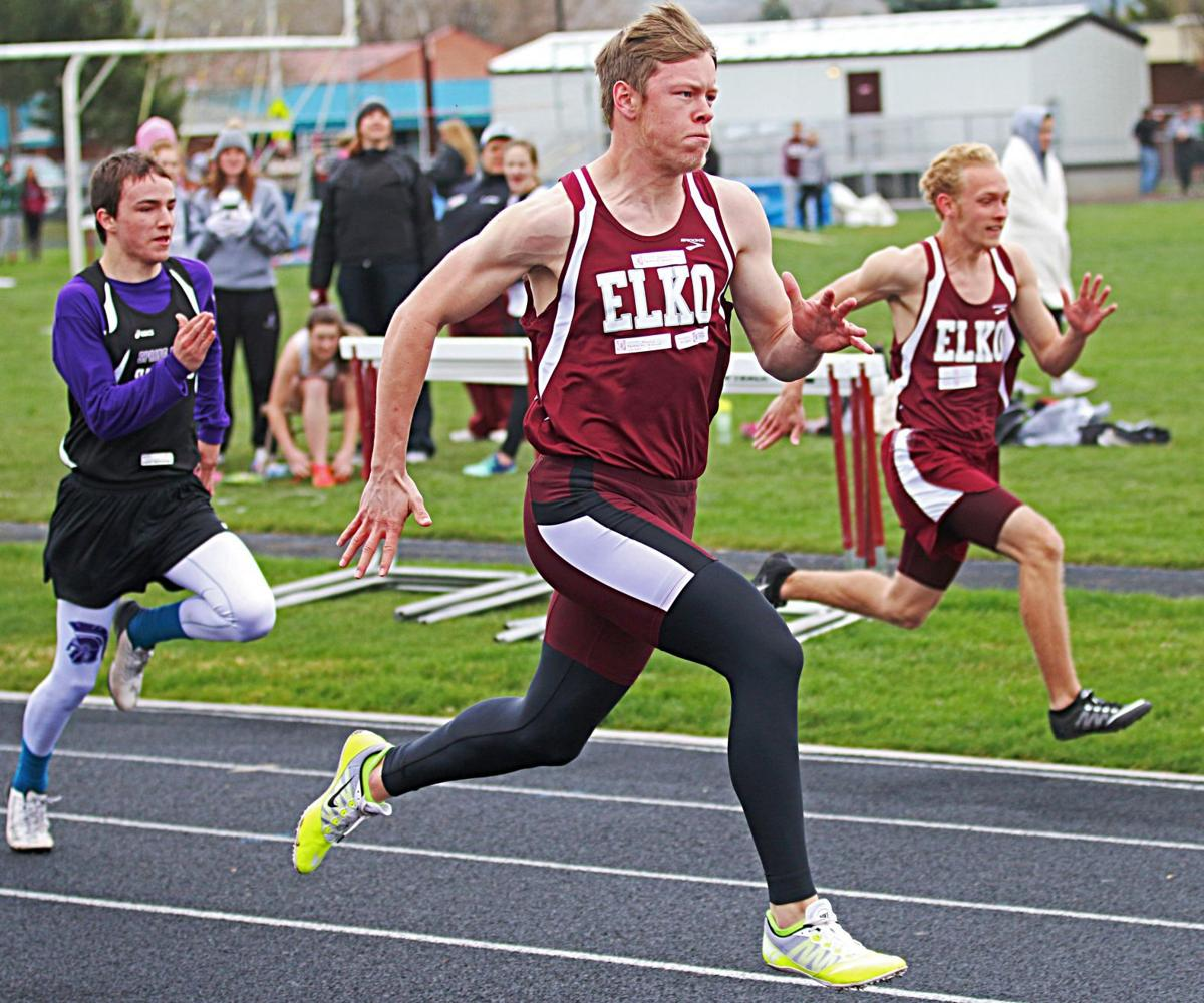Elko Wins Kiwanis Invitational Local Sports Current Relay Senior Bryson Kufeld Center Dashes To First Place In The 100 Meters Of On Friday At Warrior Field With A Time 1162