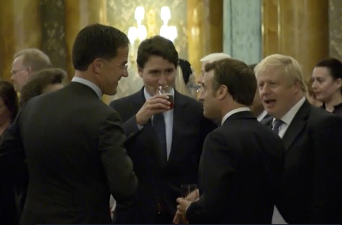 Britain NATO Summit Gossiping Leaders