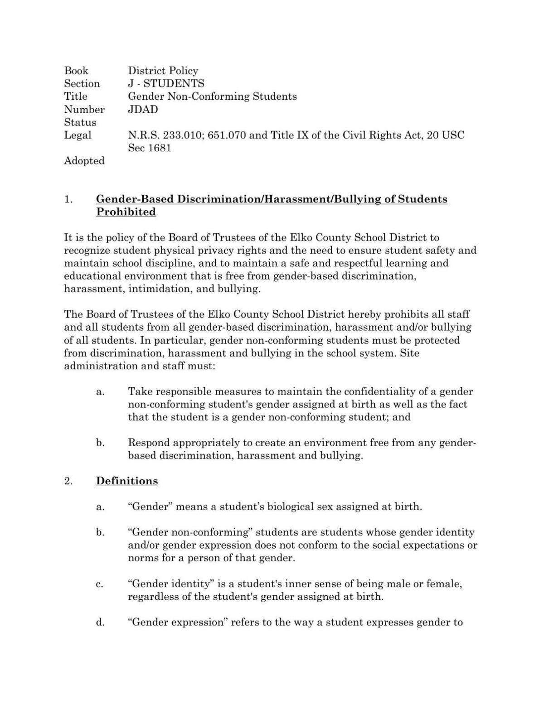 ECSD gender non-conforming policy