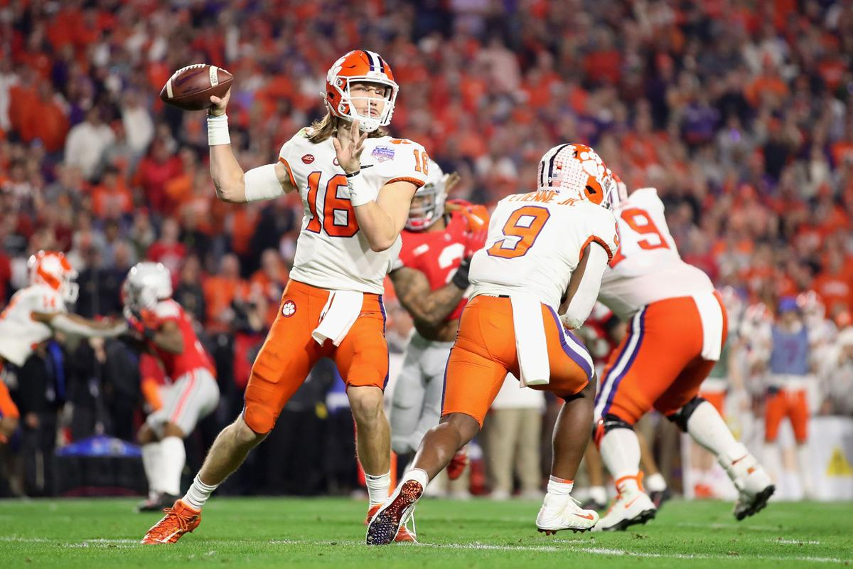 Clemson quarterback Trevor Lawrence (16) drops back to pass against Ohio State during the PlayStation Fiesta Bowl at State Farm Stadium on December 28, 2019, in Glendale, Arizona.