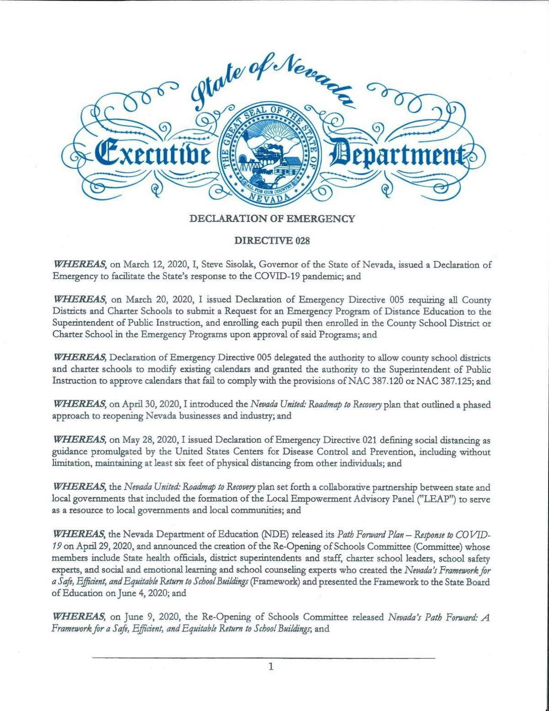 Declaration of Emergency Directive 028