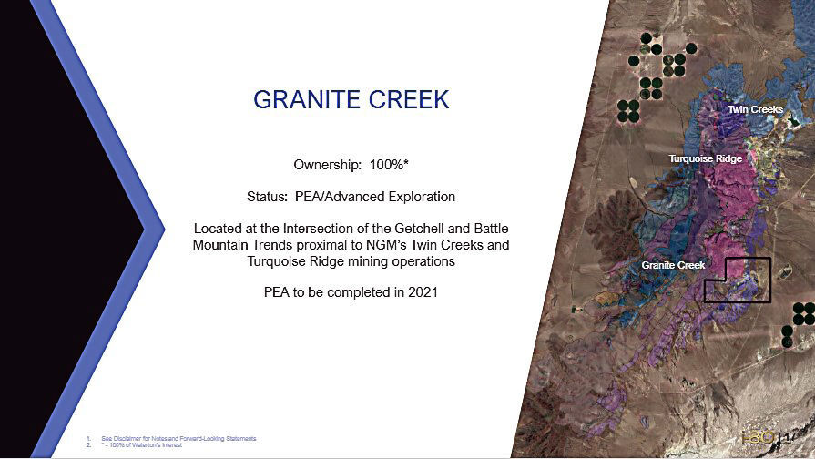 Granite Creek name for Getchell Property