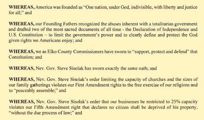 Elko County resolution