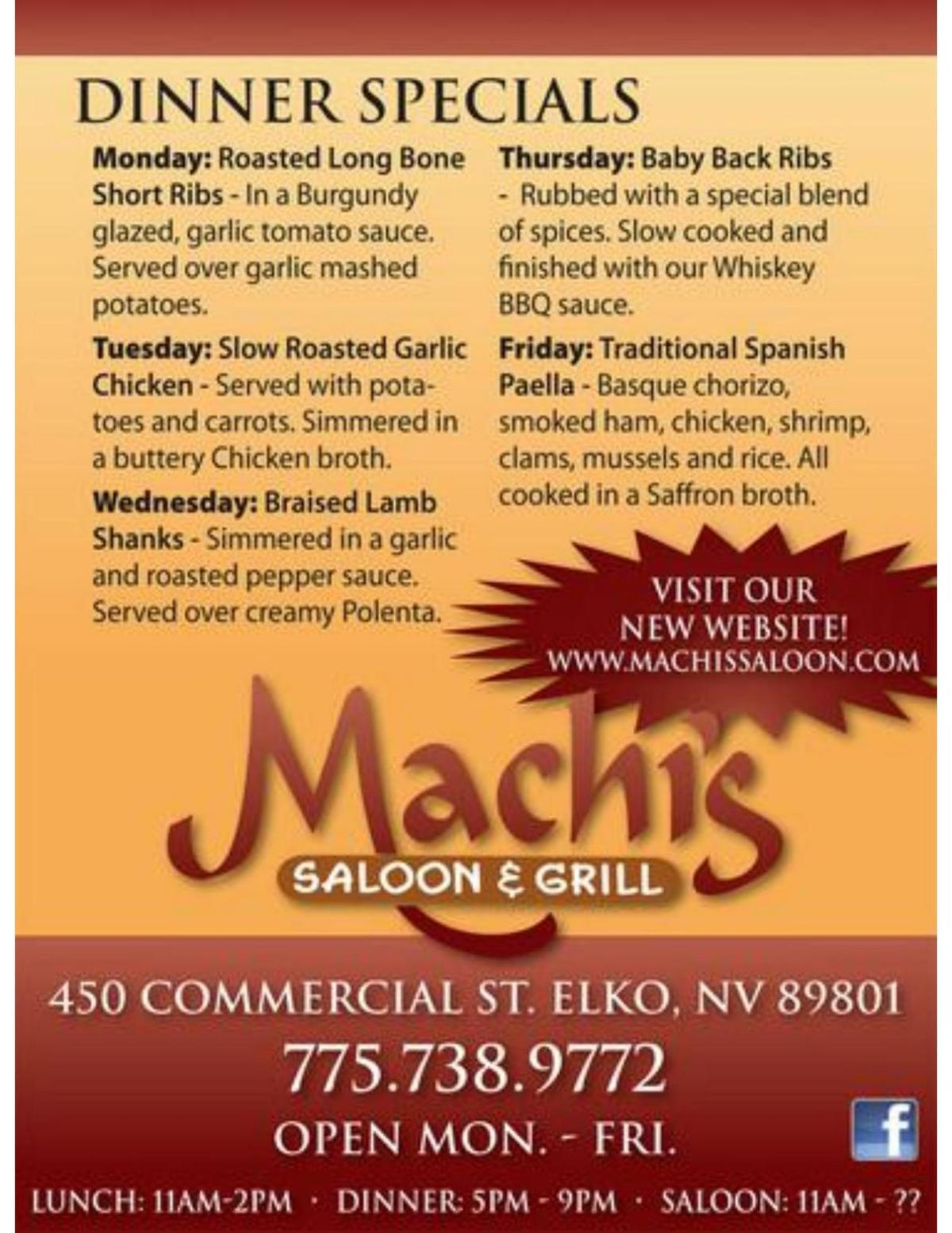Machi's Saloon & Grill Dinner Specials