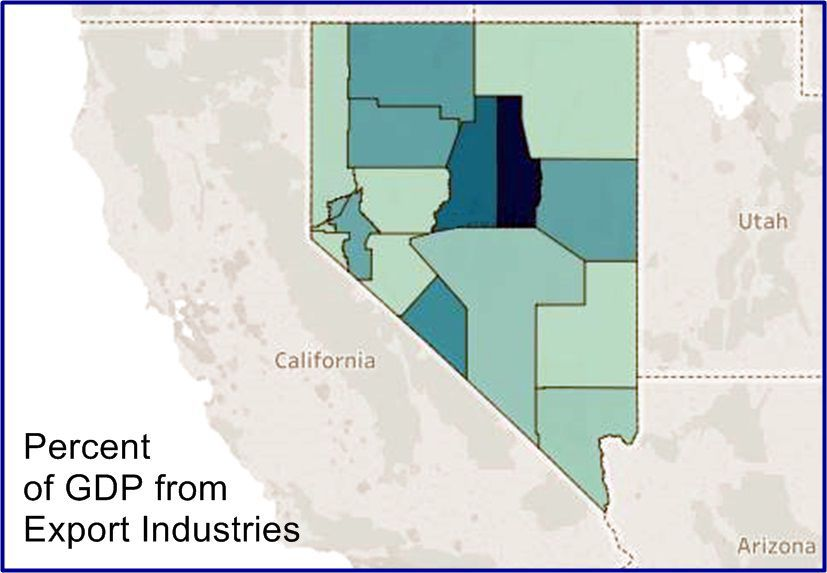Export-oriented industries by county